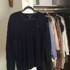 Navy Boyfriend Fit Polo Sweater